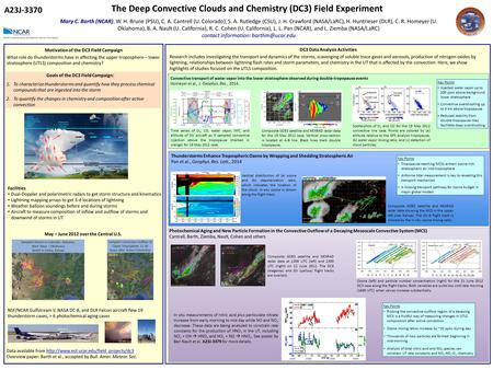 The Deep Convective Clouds and Chemistry (DC3) Field Experiment Mary C. Barth (NCAR), W. H. Brune (PSU), C. A. Cantrell (U. Colorado), S. A. Rutledge (CSU),