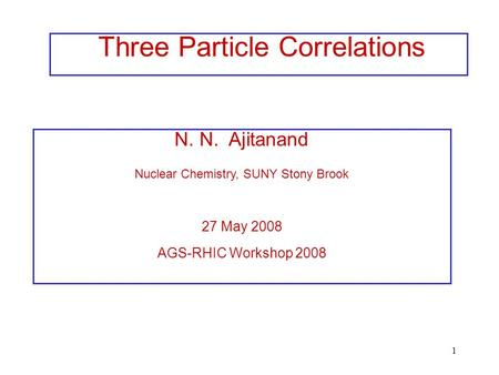 1 N. N. Ajitanand Nuclear Chemistry, SUNY Stony Brook 27 May 2008 AGS-RHIC Workshop 2008 Three Particle Correlations.