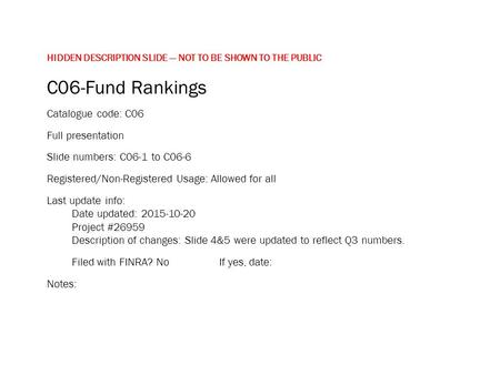 HIDDEN DESCRIPTION SLIDE — NOT TO BE SHOWN TO THE PUBLIC C06-Fund Rankings Catalogue code: C06 Full presentation Slide numbers: C06-1 to C06-6 Registered/Non-Registered.