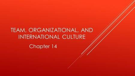 TEAM, ORGANIZATIONAL, AND INTERNATIONAL CULTURE Chapter 14.
