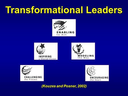 (Kouzes and Posner, 2002) Transformational Leaders.
