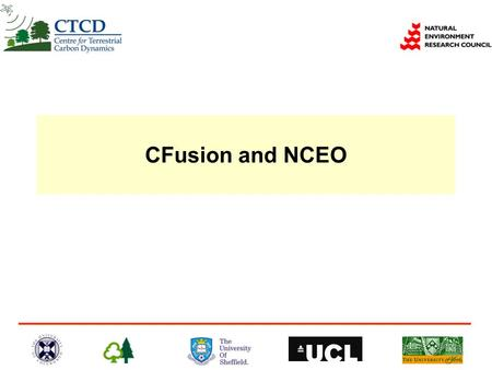 CFusion and NCEO. NCEO Components Ciais et al. 2003 IGOS-P Integrated Global Carbon Observing Strategy Global Carbon Data Assimilation System.