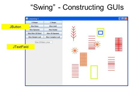 """Swing"" - Constructing GUIs JButton JTextField. Layout Managers CENTERWEST CENTER BORDERLAYOUT this.setLayout(new BorderLayout()); this.add(displayCanvas,"