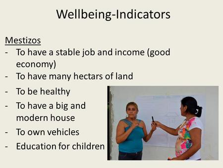 Wellbeing-Indicators -To be healthy -To have a big and modern house -To own vehicles -Education for children Mestizos -To have a stable job and income.