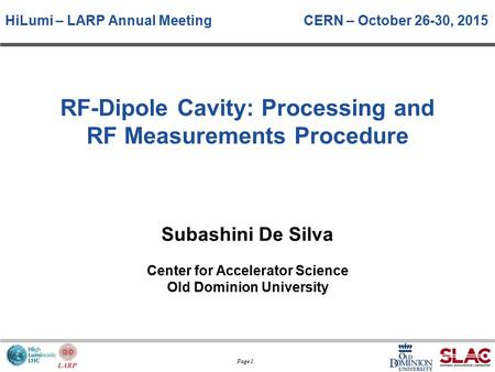 RF-Dipole Cavity: Processing and RF Measurements Procedure