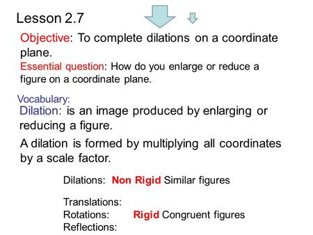 Lesson 2.7 Objective: To complete dilations on a coordinate plane. Vocabulary: Dilation: is an image produced by enlarging or reducing a figure. A dilation.