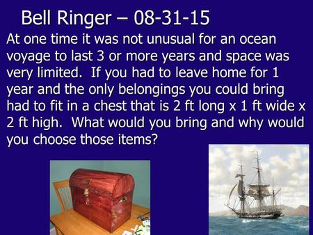 Bell Ringer – 08-31-15 At one time it was not unusual for an ocean voyage to last 3 or more years and space was very limited. If you had to leave home.
