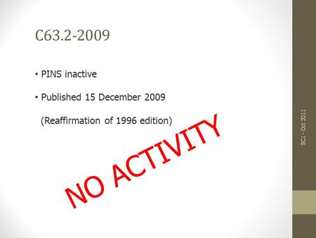 NO ACTIVITY C63.2-2009 SC1 - Oct 2011 PINS inactive Published 15 December 2009 (Reaffirmation of 1996 edition)