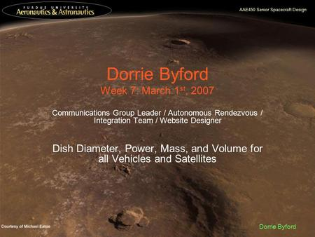 AAE450 Senior Spacecraft Design Dorrie Byford Dorrie Byford Week 7: March 1 st, 2007 Communications Group Leader / Autonomous Rendezvous / Integration.