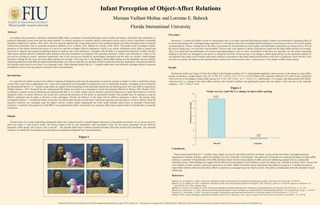 Infant Perception of Object-Affect Relations Mariana Vaillant-Molina and Lorraine E. Bahrick Florida International University Presented at the Society.