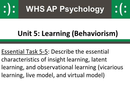 WHS AP Psychology Unit 5: Learning (Behaviorism) Essential Task 5-5: Describe the essential characteristics of insight learning, latent learning, and observational.