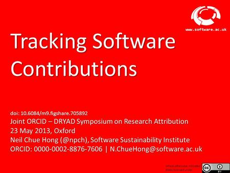 Software Sustainability Institute www.software.ac.uk Tracking Software Contributions doi: 10.6084/m9.figshare.705892 Joint ORCID – DRYAD Symposium on Research.