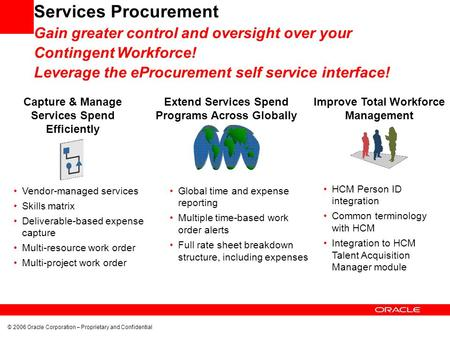 © 2006 Oracle Corporation – Proprietary and Confidential Capture & Manage Services Spend Efficiently Extend Services Spend Programs Across Globally Improve.