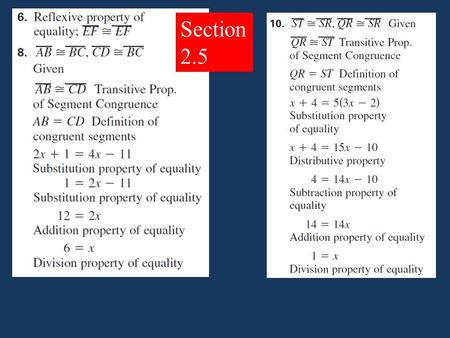 Section 2.5. 2-6 Proving Statements about Angles.