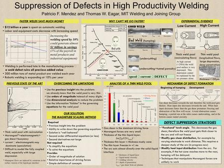 Suppression of Defects in High Productivity Welding Patricio F. Mendez and Thomas W. Eagar, MIT Welding and Joining Group $12 billion a year is spent on.