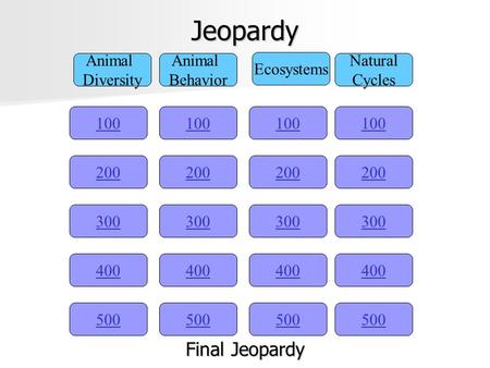 Jeopardy 100 Animal Diversity Animal Behavior Ecosystems Natural Cycles 200 300 400 500 400 300 200 100 500 400 300 200 100 500 400 300 200 100 Final.
