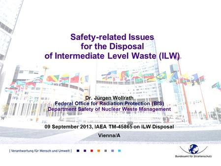 Safety-related Issues for the Disposal of Intermediate Level Waste (ILW) Dr. Jürgen Wollrath Federal Office for Radiation Protection (BfS) Department Safety.