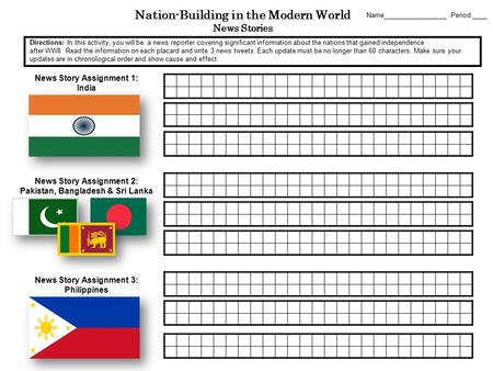Nation-Building in the Modern World News Stories News Story Assignment 1: India Name_________________ Period ____ News Story Assignment 2: Pakistan, Bangladesh.