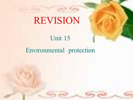 REVISION Unit 15 Environmental protection. Global warming What causes the global warming? What is it ? What is happening to it?