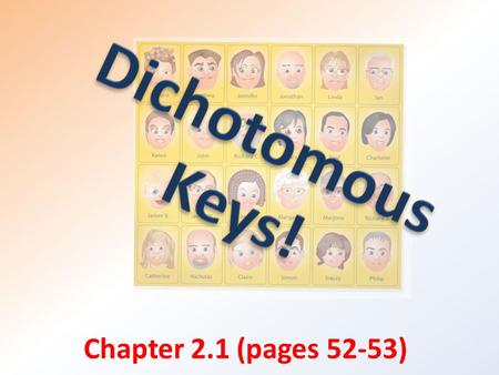 Chapter 2.1 (pages 52-53). Key concepts: Explain why and how organisms are classified. Describe how dichotomous keys help in identifying organisms.
