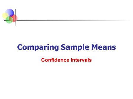 Comparing Sample Means