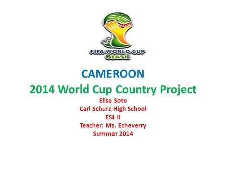CAMEROON 2014 World Cup Country Project Elisa Soto Carl Schurz High School ESL II Teacher: Ms. Echeverry Summer 2014.
