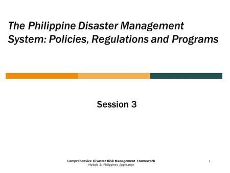 Comprehensive Disaster Risk Management Framework Module 2: Philippines Application The Philippine Disaster Management System: Policies, Regulations and.
