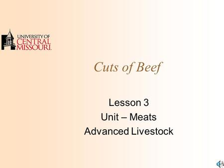 Cuts of Beef Lesson 3 Unit – Meats Advanced Livestock.