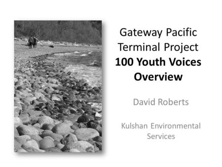 Gateway Pacific Terminal Project 100 Youth Voices Overview David Roberts Kulshan Environmental Services.