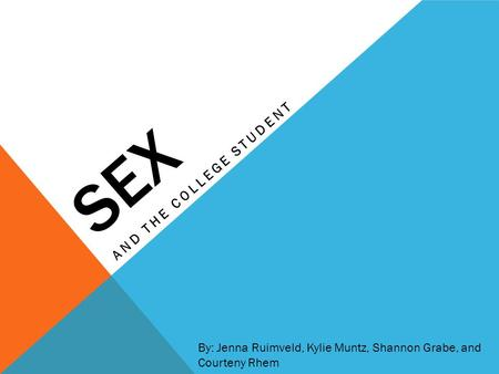 SEX AND THE COLLEGE STUDENT By: Jenna Ruimveld, Kylie Muntz, Shannon Grabe, and Courteny Rhem.