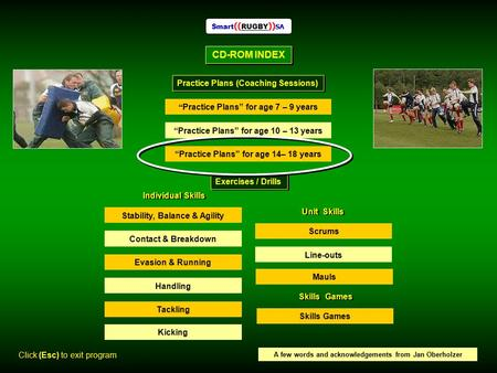 "CD-ROM INDEX Smart (( RUGBY )) SA Practice Plans (Coaching Sessions) "" Practice Plans"" for age 7 – 9 years ""Practice Plans"" for age 10 – 13 years ""Practice."