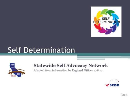 Self Determination Statewide Self Advocacy Network Adapted from information by Regional Offices 10 & 4. 11/20/15.