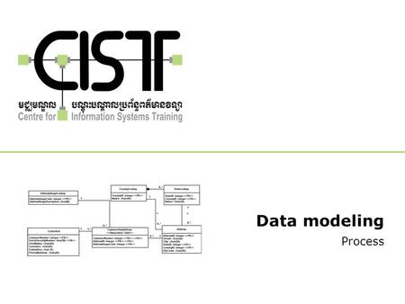 Data modeling Process. Copyright © 2007 - CIST 2 Definition What is data modeling? –Identify the real world data that must be stored on the database –Design.