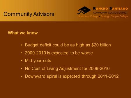 Community Advisors What we know Budget deficit could be as high as $20 billion 2009-2010 is expected to be worse Mid-year cuts No Cost of Living Adjustment.