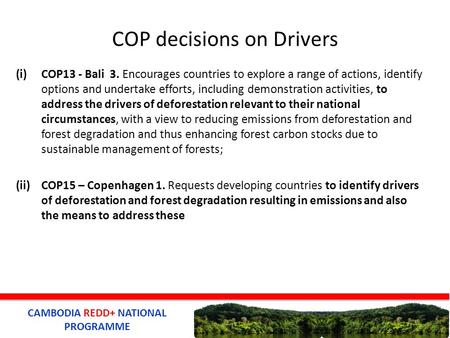 CAMBODIA REDD+ NATIONAL PROGRAMME COP decisions on Drivers (i)COP13 - Bali 3. Encourages countries to explore a range of actions, identify options and.