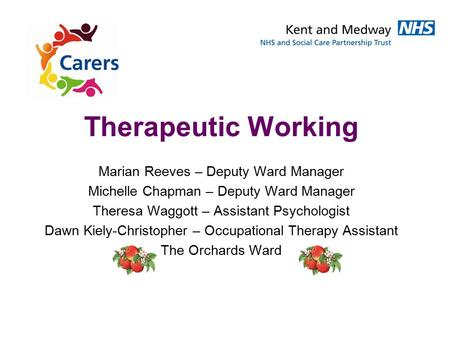 Therapeutic Working Marian Reeves – Deputy Ward Manager Michelle Chapman – Deputy Ward Manager Theresa Waggott – Assistant Psychologist Dawn Kiely-Christopher.