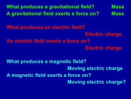 What produces a gravitational field?Mass A gravitational field exerts a force on?Mass What produces an electric field? Electric charge An electric field.