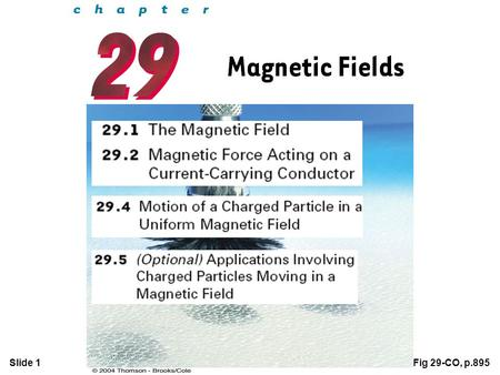 Slide 1Fig 29-CO, p.895. Slide 2  The direction of the magnetic field B at any location is the direction in which a compass needle points at that location.