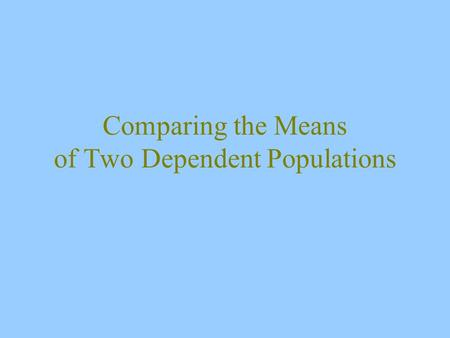 Comparing the Means of Two Dependent Populations.