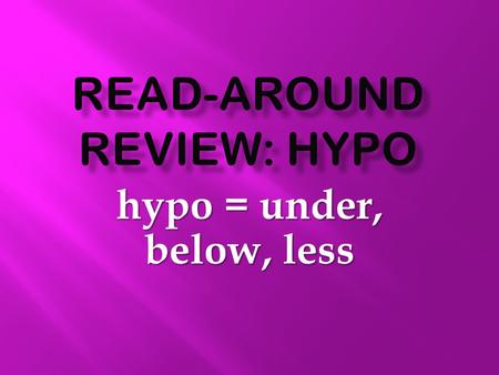 Hypo = under, below, less.  What is the prefix that means under, below or less?