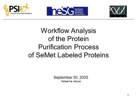 1 Workflow Analysis of the Protein Purification Process of SeMet Labeled Proteins September 30, 2005 Haleema Janjua.