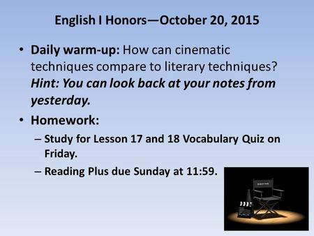 English I Honors—October 20, 2015