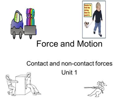Force and Motion Contact and non-contact forces Unit 1.