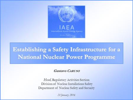 23 January 2016 Gustavo C ARUSO Head, Regulatory Activities Section Division of Nuclear Installations Safety Department of Nuclear Safety and Security.