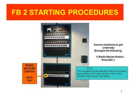 "1 FB 2 STARTING PROCEDURES RADIO MASTER SWITCH UP IS ""ON"" Assess readiness to get underway Energize the following: 1) Radio Master Switch, Panel DC-1 NOTE."