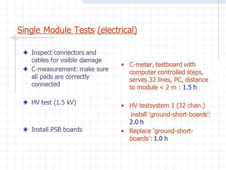 Single Module Tests (electrical) Inspect connectors and cables for visible damage C-measurement: make sure all pads are correctly connected HV test (1.5.