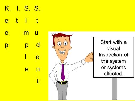 K. I. S. S. e t i t e m u p p d l e e n t Start with a visual Inspection of the system or systems effected.