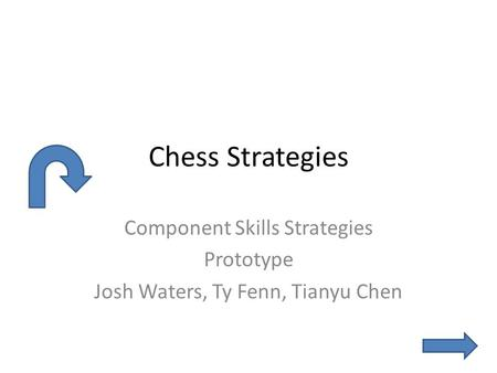 Chess Strategies Component Skills Strategies Prototype Josh Waters, Ty Fenn, Tianyu Chen.