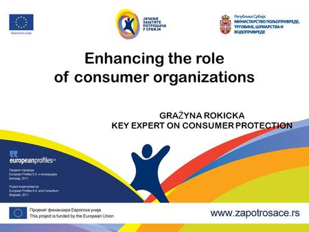 Enhancing the role of consumer organizations GRA Ż YNA ROKICKA KEY EXPERT ON CONSUMER PROTECTION.