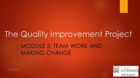 The Quality Improvement Project MODULE 5: TEAM WORK AND MAKING CHANGE October 2015.